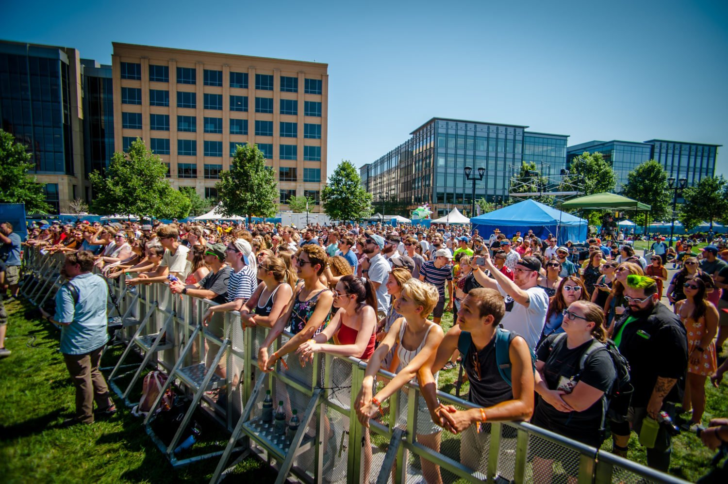 The crowd during BJ the Chicago Kid's performance at 80/35 Music Festival 2018 in Des Moines, Iowa
