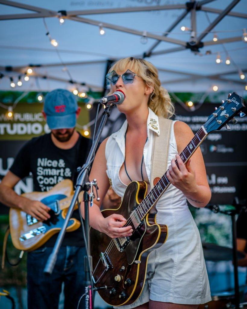 Elizabeth Moen performing on the Iowa Public Radio stage at 80/35 Music Festival 2018 in Des Moines, Iowa