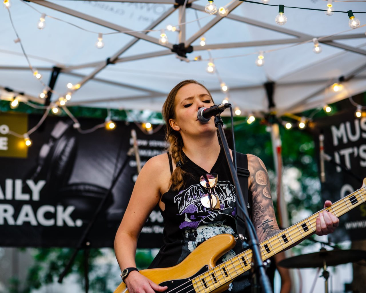 Honeycreeper performing on the Iowa Public Radio stage at 80/35 Music Festival 2018 in Des Moines, Iowa