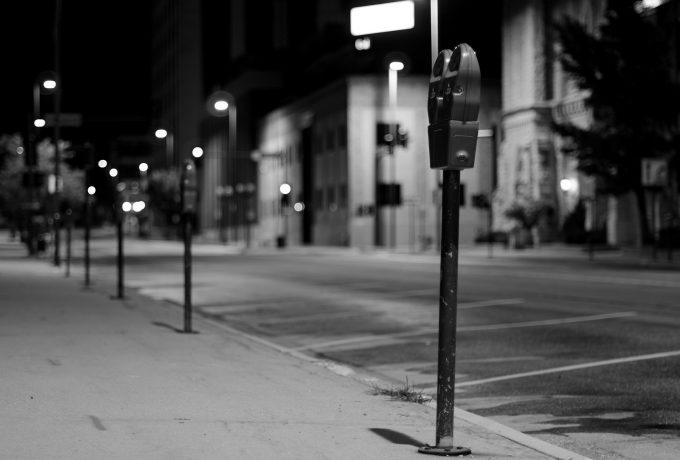 Film photo of a parking meter in downtown Cedar Rapids