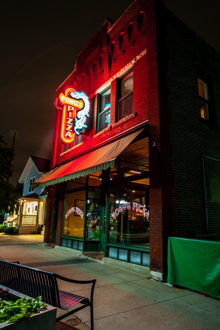 Fong's Pizza at night in Cedar Rapids, Iowa