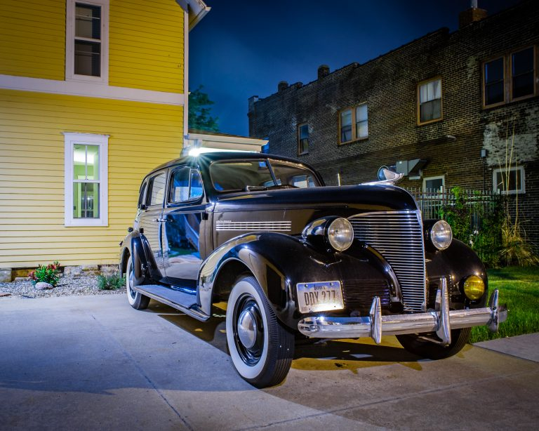 Photo of an old car in the New Bo district of Cedar Rapids