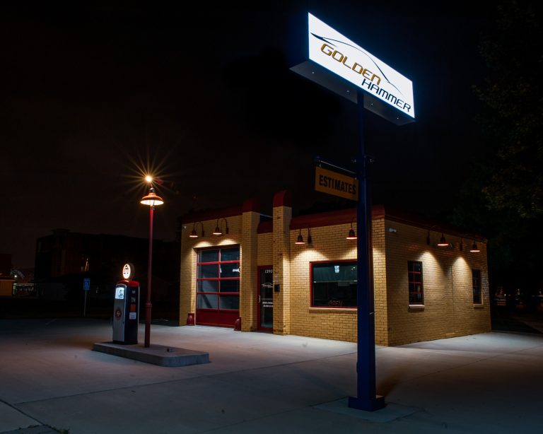 Photo of the retro gas station in the New Bo district, Cedar Rapids, Iowa