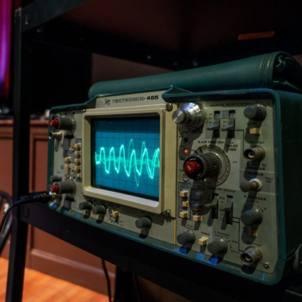Using a Tektronix 455 to view waveforms at the December 2019 Newbo Synth Group meeting