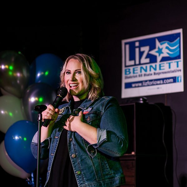 State Representative Liz Bennett speaking at her Celebrity Karaoke Night Fundraiser at the Rich Heritage of Cedar Rapids Theatre Company