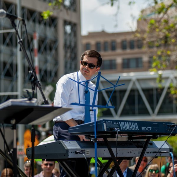 Presidential candidate Pete Buttigieg playing with the band at a campaign stop in Cedar Rapids, Iowa